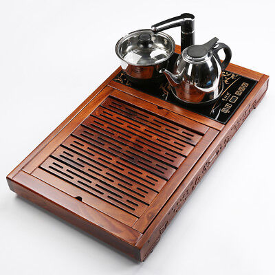 Unique tea tray wooden tea table with induction cooker solid rosewood kettle pan