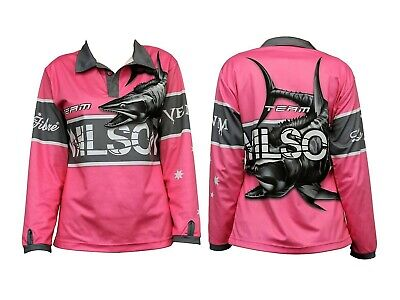 Team Wilson Pink Tournament Long Sleeve Fishing Shirt with Collar-Fishing Jersey