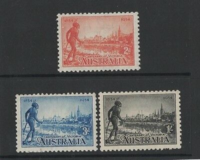 1934 Australia Centenary of Victoria SG 147/9 Perf 10 1/2 mlh set of 3