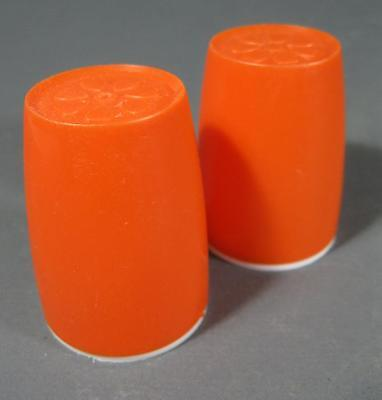 Retro 60s-70s orange/white plastic Decor salt /pepper shakers -kartell-era