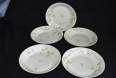 "Theodore Haviland Limoges France 5 Coupe Soup Bowls 7 1/2"" Marie Schleiger 161-8"