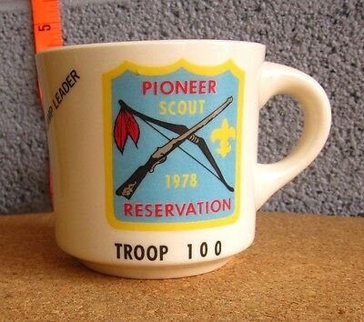 BSA Erie Shores coffee mug Pioneer Scout Reservation 1978 Ohio Boy Scouts Troop