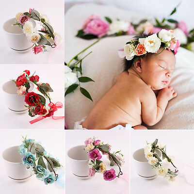 Baby Kids Child Lace Crown Headband Wedding Girls Rose Flower Garland Hairbands