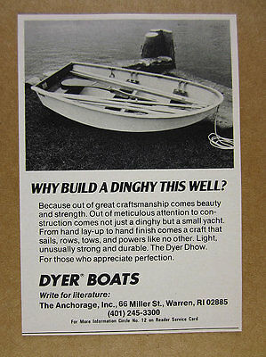 1978 Dyer Dhow Dinghy boat photo vintage print Ad