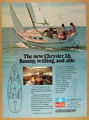1978 Chrysler 26 Sailboat Yacht color photo vintage print Ad