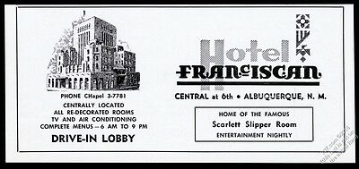 1958 Hotel Franciscan Albuquerque New Mexico illustrated vintage print ad