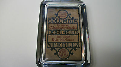 Columbia Phonograph Record Needle Logo Music Advertising Sign Glass Paperweight