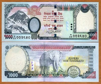 Nepal, 1000 Rupees, 2016 (2017), P-New, UNC > Elephant, Highest Denom