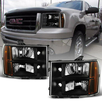 Black 2007-2013 GMC Sierra 1500 2500 3500 Headlights Headlamps 07-13 Left+Right