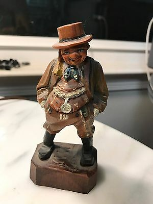 VTG Antique German Hand Carved Wood Old Man Gentleman Figurine German statue