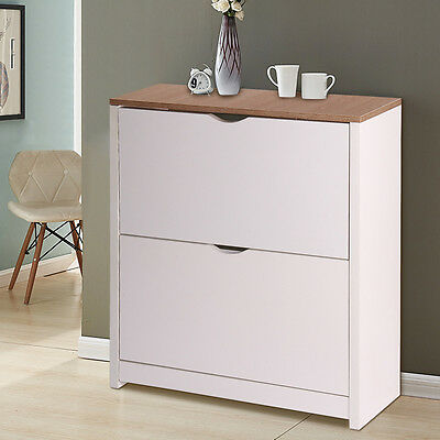 Shoe Storage Cabinet Cupboard with 2 Drawers  in White & Natural Stand Cupboard