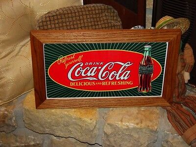 Coca Cola Custom Cedar Framed Retro Starburst Tin Restaurant Bar Display Sign