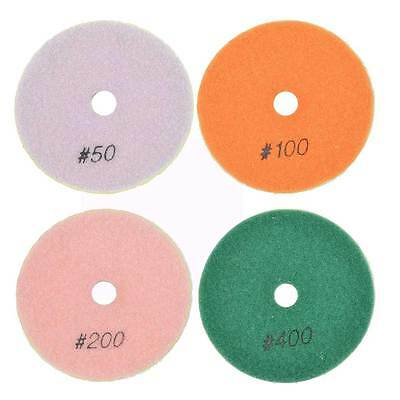 "BRTD412PC 4 Pc Concrete Polishing DHEX Pad Set 4"" (50, 100, 200 & 400 Grit) 6mm"