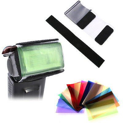 12 Color Gel Filter w/ Holder Set For Photography Light Flash Speedlite Lighting