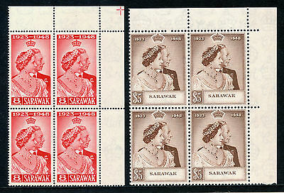 Sarawak 1948 KGVI Silver Wedding set complete in blocks superb MNH. SG 165-166.