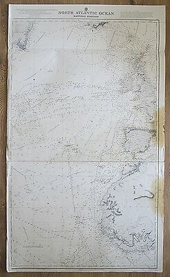 1870 North Atlantic Ocean Eastern Uk Spain Africa Vintage Admiralty Chart Map