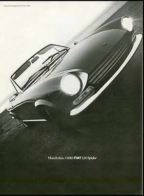 1969 vintage ad for Fiat 124 Spider Sports Car, convertable automobiles