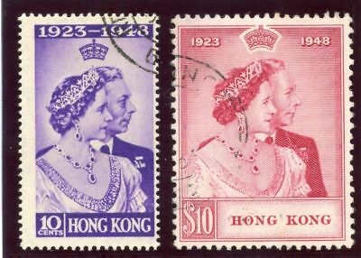Hong Kong 1948 KGVI Silver Wedding set complete VFU. SG 171-172. Sc 178-179.