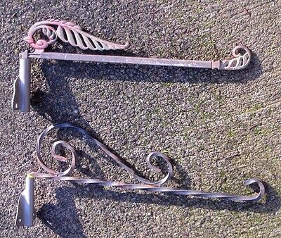 Lot of 2 Antique / Vintage Iron Wall Mount Hanging Flower Planter Pot Brackets