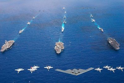 B-2 Bomber & Aircraft Carriers in Valiant Shield 12x18 Silver Halide Photo Print