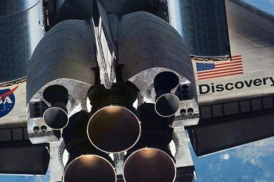 Close-up STS-121 Discovery Shuttle Tail 12x18 Silver Halide Photo Print