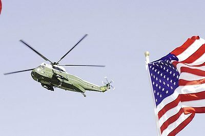 Marine One Helicopter with American Flag 12x18 Silver Halide Photo Print