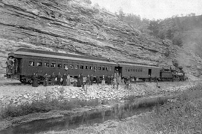 Old West 1891 Steam Train and Passengers 12x18 Silver Halide Photo Print