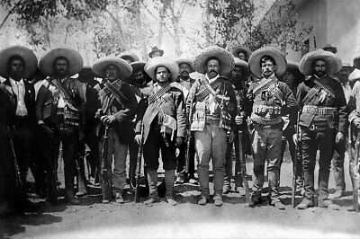 Pancho Villa with Generals Mexican Revolution 12x18 Silver Halide Photo Print