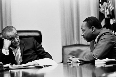 Lyndon Johnson and Martin Luther King in Cabinet 12x18 Silver Halide Photo Print
