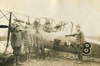 U.S. Air Crew with Biplane 1920 WWI Era 12x18 Silver Halide Photo Print
