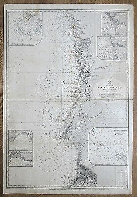 1922 Spain Portugal Cape Finisterre Cape St Vincent Vintage Admiralty Chart Map