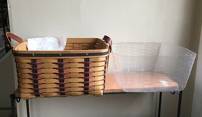 Longaberger Proudly American Small Wash Day Basket w/ Protector - Beautiful!