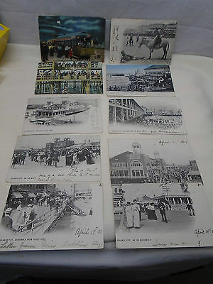 10 Postcard Lot Atlantic City NJ Boardwalk Steel Pier ++ 1903-1907