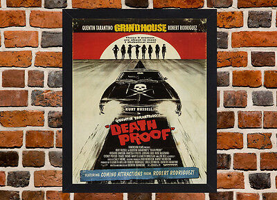 Framed Death Proof Movie Poster A4 / A3 Size Mounted In Black / White Frame