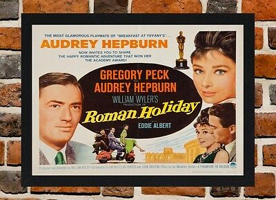 Framed Roman Holiday Movie Poster A4 / A3 Size Mounted In Black / White Frame .