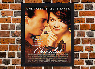 Framed Chocolat Movie / Film Poster A4 / A3 Size Mounted In Black / White Frame