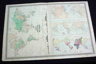 1870 Johnson's Map Tidal Waves Volcanoes Races Of Man Mountains Plateaus World