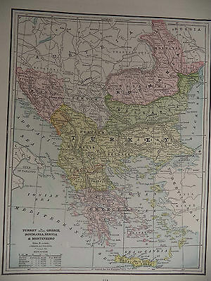 1891 Color Geo Cram Map Italy or Turkey Greece Roumania Servia Montenegro