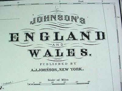 Large Antique Color 1867 Johnson's Map of England & Wales