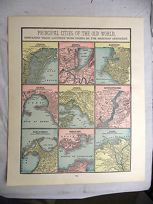 Antique 1891 Color Map Principal Cities of the World Comparing Latitude America