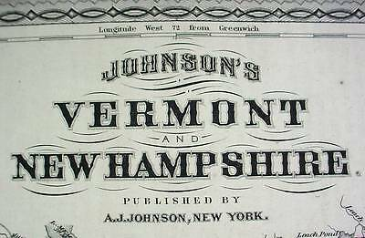 Large Antique Color 1867 Johnson's Map of Vermont & New Hampshire