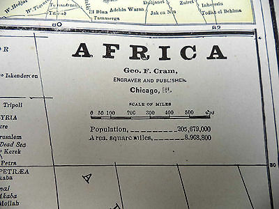 Antique 1891 Geo Cram Map of AFRICA Morocco Tunis Or Oceania + Atlantic Islands