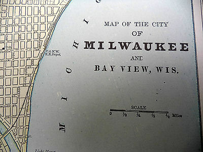 Antique 1891 Geo Cram City Map With Street Names Milwaukee Bay View or Atlanta