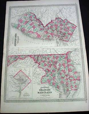 Large Antique Color 1868 Johnson's Map Of New Jersey Delaware & Maryland