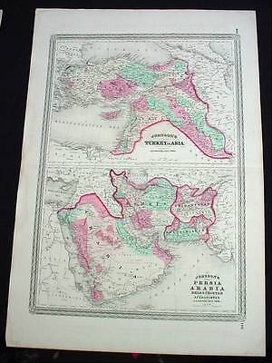 Large Antique 1867 Johnson's Map Persia Turkey Arabia Beloochistan & Afghanistan