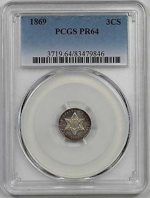 1869 Silver Three-Cent Pieces Trime 3CS PR 64 PCGS Mintage= 600