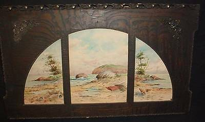 Antique Watercolor Painting Signed US Artist Seashore Three Panel Window Design