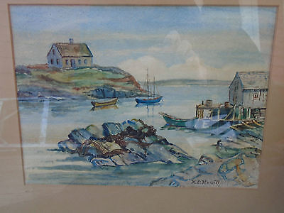 Amazing Old Nova Scotia Watercolor Painting Village Harbor Signed MC Hewitt