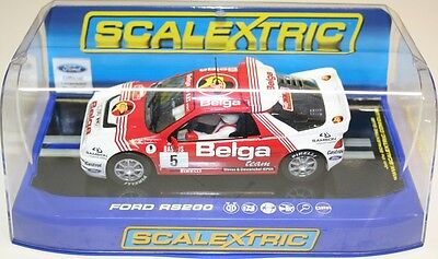 Scalextric C3637 Ford RS200 - 24hr Rally D'Ypres 1986, No. 5 Belga Team DPR NEW