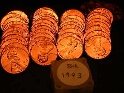 Full 50pc Roll 1993 P Ch/Gem Lincoln Cents  BU Cherry RED Coins!!!!